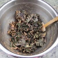 Step 6 - Toss kale with rubber spatula until evenly coated