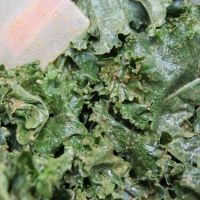 Step 4 - Toss kale with rubber spatula until evenly coated