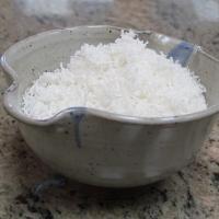 Bowl of shredded coconut