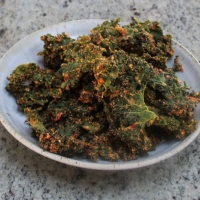 Kale Chips with Cashews and Dehydrated Tomatoes